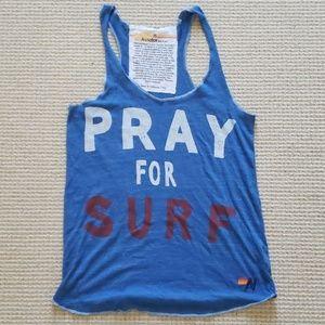 Aviator Nation blue Pray for Surf tank size M